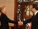 杨洁篪和希拉里握手